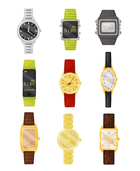 Set of mechanical and digital wrist watches. stylish accessory. electronic devices