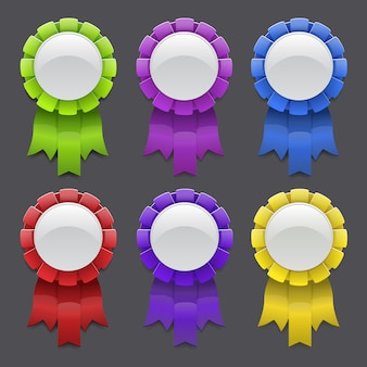 Set of medals with ribbons