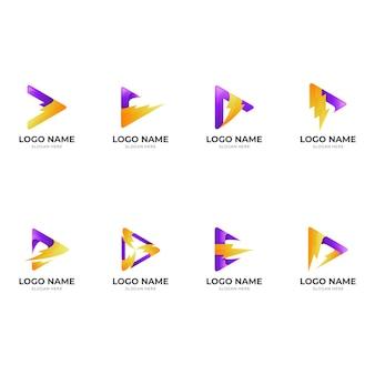 メディア サンダー ロゴ、プレイとサンダー、3 d の組み合わせのロゴを設定します。 Premiumベクター