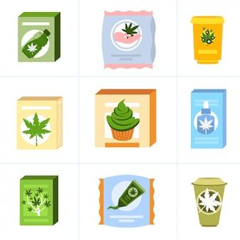Set medical cannabis or marijuana natural products composition ganja legalization hemp leaf drug consumption concept