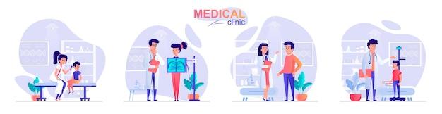 Установите медицинскую клинику плоский дизайн концепции иллюстрации персонажей людей