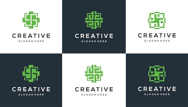 Set of medical cross logo design for medical, hospital