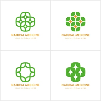 Set of medical eco logo icon design template with cross and plus.
