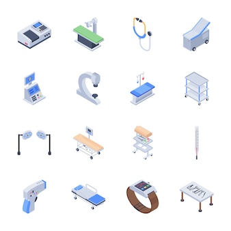 Set of medical equipment icons