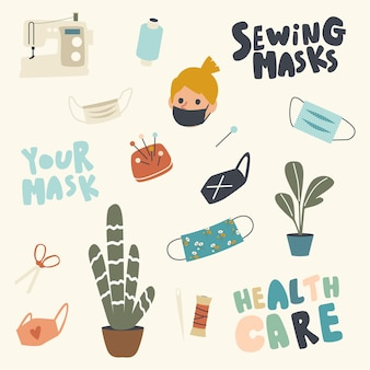 Set of medical face masks, sewing machine, scissors, skein of thread and home potted plants
