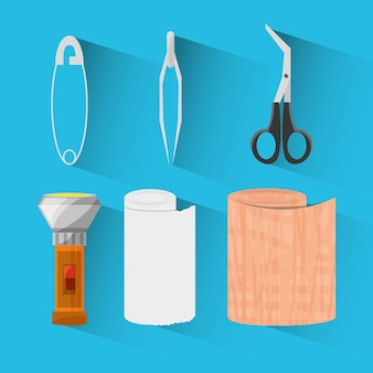 Set medical first aid kit to pharmacy urgency