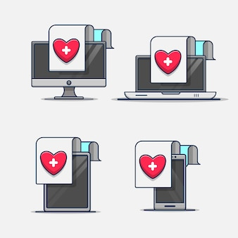 Set of medical health report document in device   illustration icon