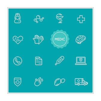 Set of medical hospital vector illustration elements can be used as logo or icon in premium quality