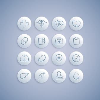 Set of medical icons on pills