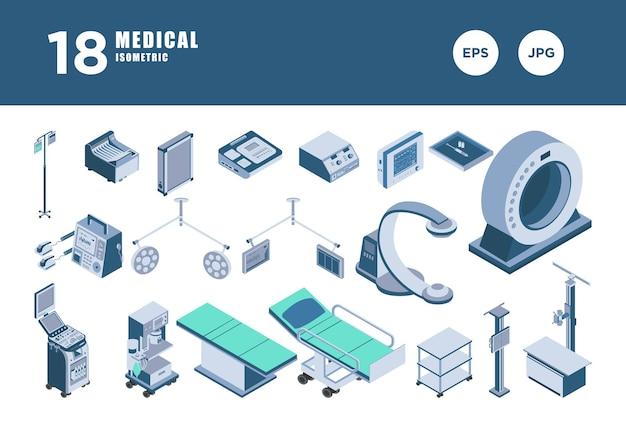 Set medical isometric design vector