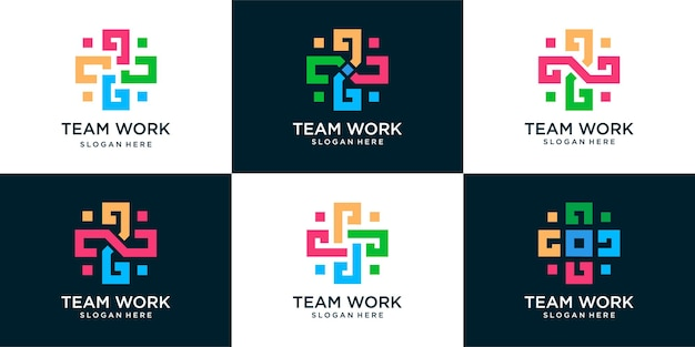 Set of medical logo template, communication and family . doctor team medical staff suitable for medical business.