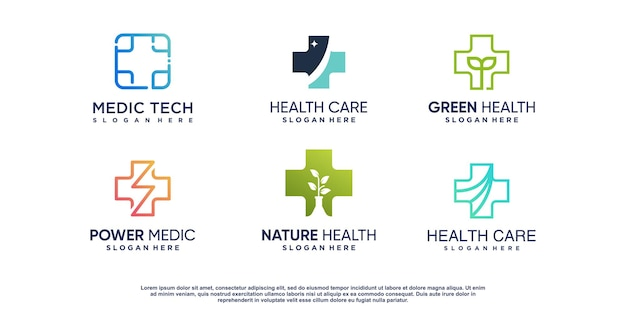 Set of medical logo with creative element premium vector