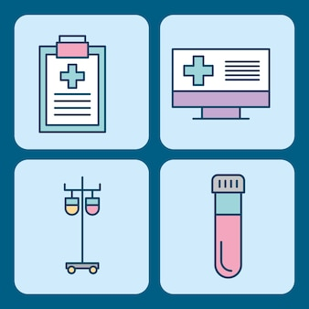 Set of medical medicine science theme icons