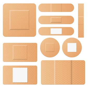 Set of medical patches design illustration isolated on white background