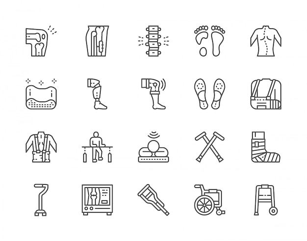 Set of medical rehabilitation and orthopedic line icons.
