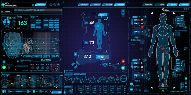 Set of medical technology user interface computer and icons on dark background.