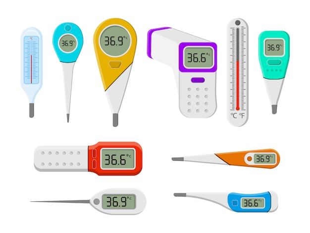 Set of medical thermometers for hospital during coronavirus. a set of tools for measuring the heat of the human body in a flat style. electronic thermometer, measuring temperature environment.