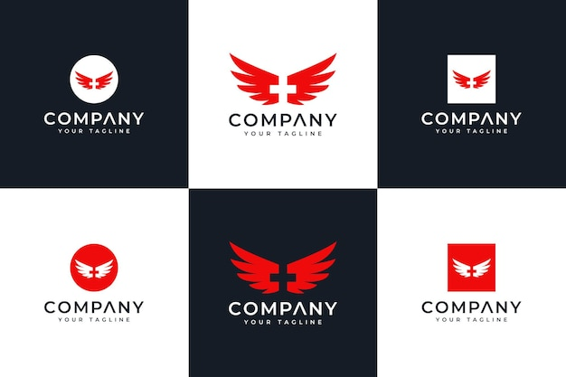 Set of medical wings logo creative design for all uses