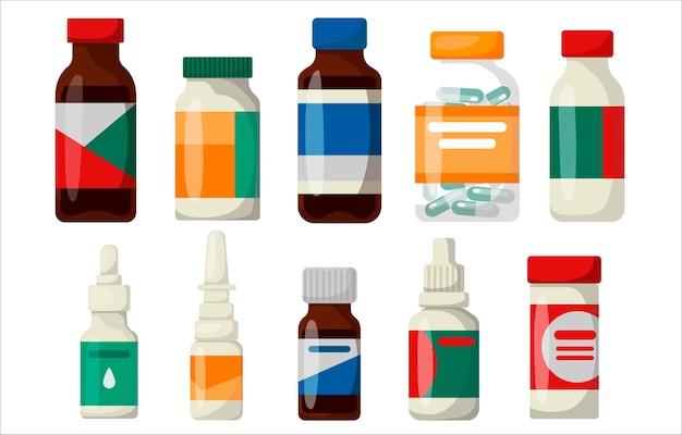Set of medicine bottles