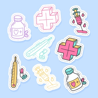 Set of medicine stickers handwritten collection in cartoon style.
