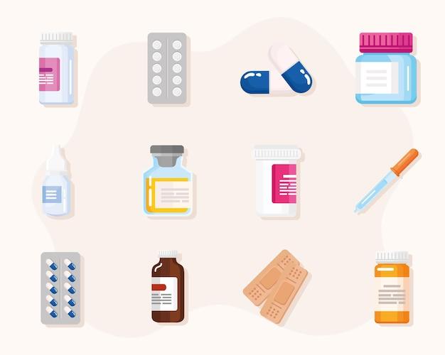 Set medicines icons