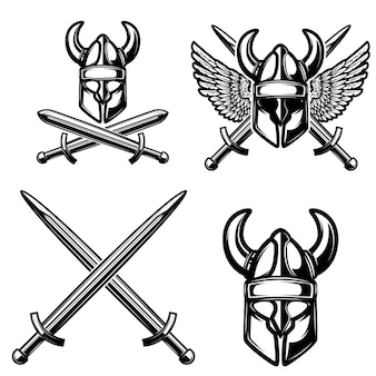Set of medieval elements with viking helmet, crossed swords.