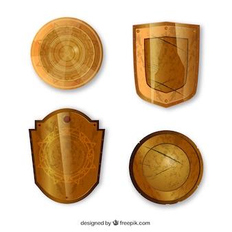 Set di scudi d'oro medievali