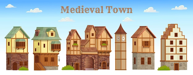 Set of medieval town