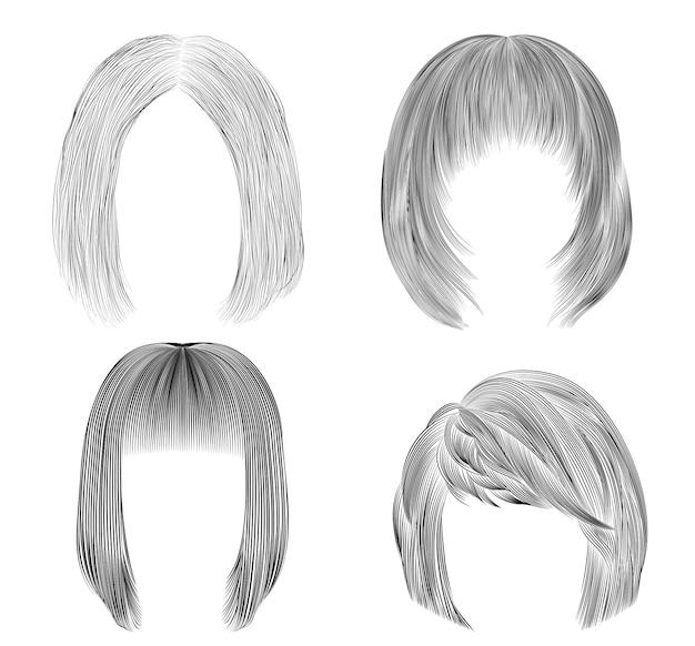 Установите средние женские волосы. черный карандашный рисунок эскиз. женская мода стиль красоты. каскадный уход