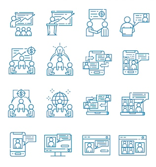 Set of meeting icons with outline style