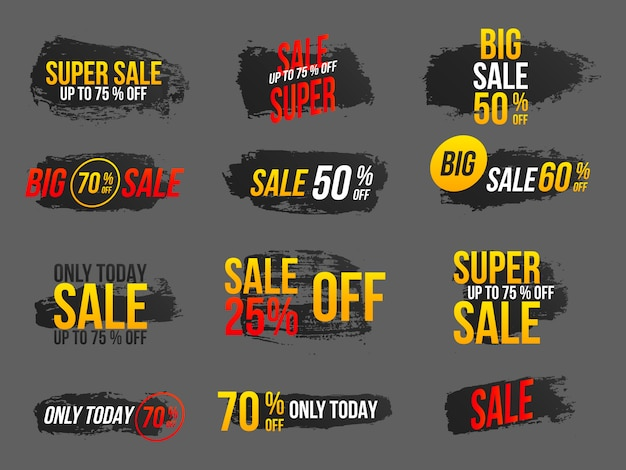 Set of mega sale banners