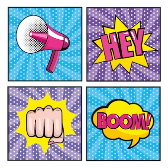 Set megaphone and hand fist with pop art message