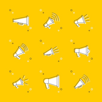 Set of megaphone thin line icons on yellow