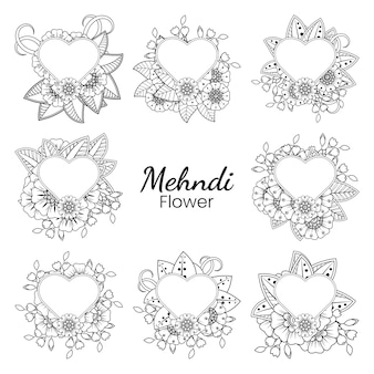 Set of mehndi flower   in ethnic oriental style doodle   hand draw illustration coloring book page