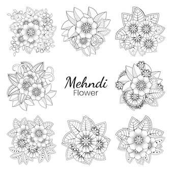 Set of mehndi flower   in ethnic oriental style doodle ornament outline hand draw illustration coloring book page