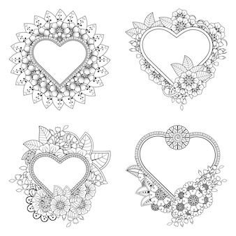 Set of mehndi flower   ornament in ethnic oriental style coloring book page