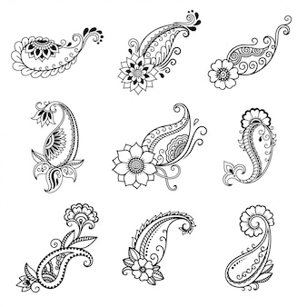 Set of mehndi flower pattern for henna drawing. decoration in ethnic oriental, indian style. doodle ornament. outline hand draw.