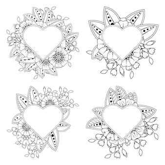 Set of mehndi flower with frame in shape of heart  in ethnic oriental style coloring page