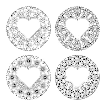 Set of mehndi flower with frame in shape of heart mehndi flower decoration   in ethnic oriental style coloring page