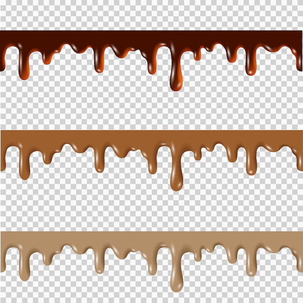 Set of melted chocolate,peanut butter,caramel seamless borders