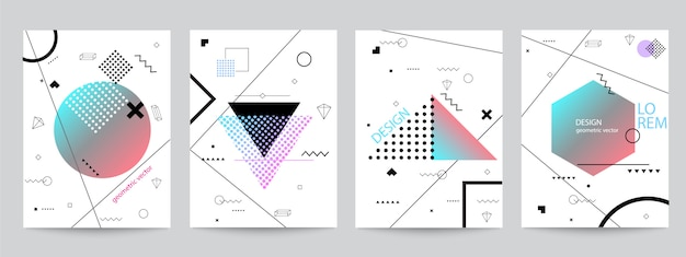 Set of memphis background set design with geometric forms