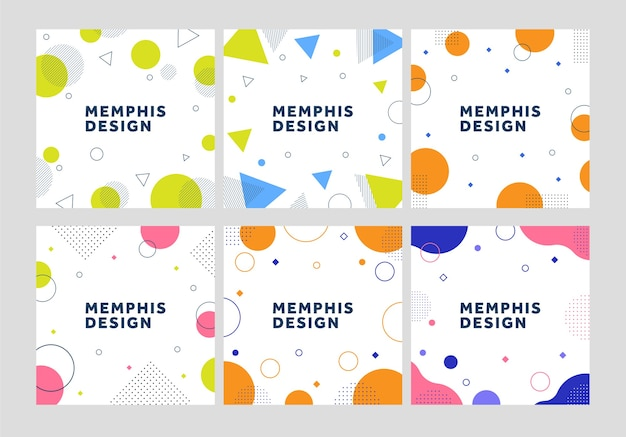 Set of memphis design template