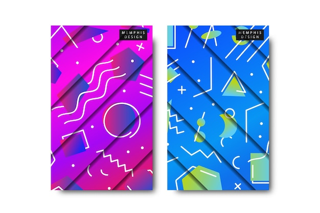Set of memphis pattern and paper cut design with abstract gradient geometric shapes