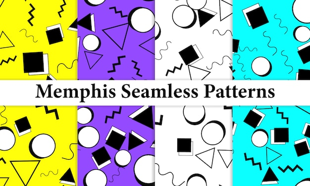 Set of memphis seamless pattern. fun background. trendy colors. memphis style patterns.  illustration. seamless pattern. abstract colorful fun background. hipster style 80s-90s.