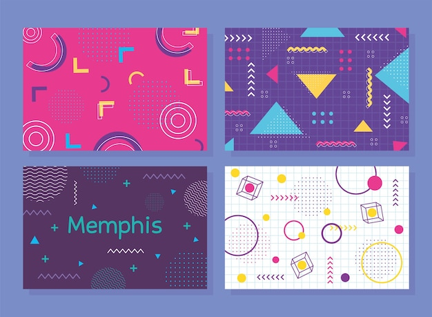 Set of memphis style banner, abstract shapes decoration illustration