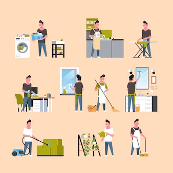 Set men doing housework different housecleaning s collection male cartoon characters