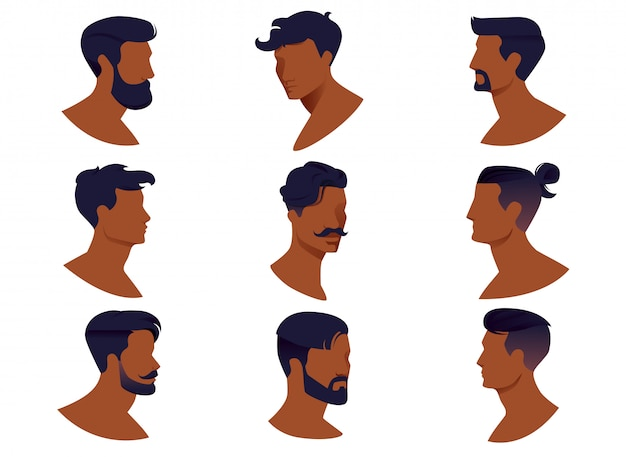 Set of men hairstyles with beards and mustache