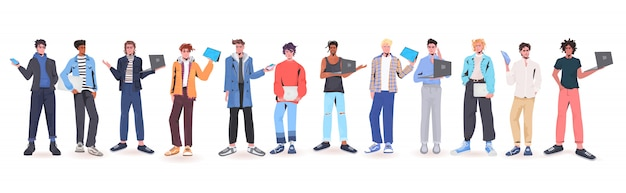 Set men holding digital devices mix race guys in trendy clothes male cartoon