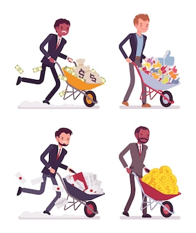 Set of men pushing wheelbarrows with coins, moneybags, likes, documentations