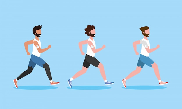 Set men running exercise activity